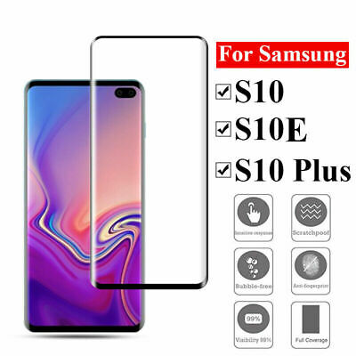3D Curved Tempered Glass Protector For Samsung Galaxy S10 S10 Plus S10 E