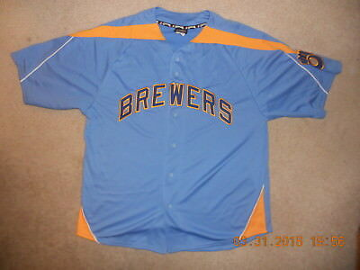 new styles eec95 c8edc MILWAUKEE BREWERS THROWBACK Jersey Majestic Cooperstown Coll 1980s Brew  Crew XL