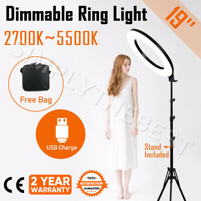 """19"""" 5500K Dimmable LED Ring Light Diffuser with Stand Phone Make Up Studio Video"""