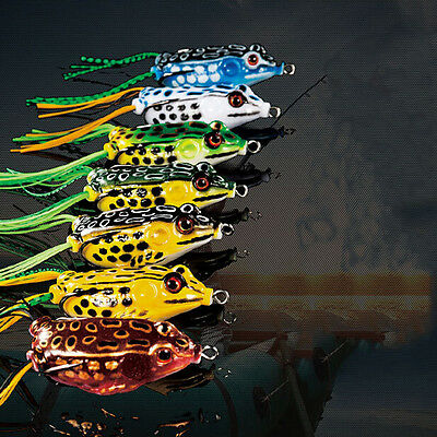 Cute Frog Topwater Fishing Lure Crankbait Hooks Bass Bait Tackle 7colors RDQ