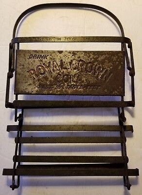 🧐 VERY RARE collapsible Vintage Royal Crown Cola RC Metal Soda Bottle Carrier