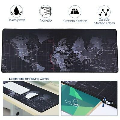 Large Gaming Mouse Pad Non-Slip Desk Keyboard Mat Smooth Surface World Map 80x30