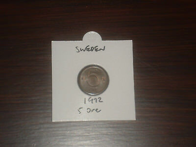 1972 Sweden 5 Ore coin Swedish five ores