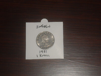 1981 Sweden 1 Krona coin Swedish one kronor KR