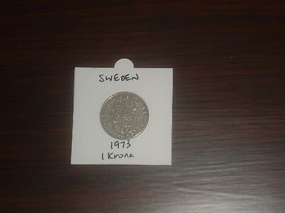 1973 Sweden 1 Krona coin Swedish one kronor KR