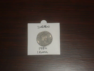 1984 Sweden 1 Krona coin Swedish one kronor KR