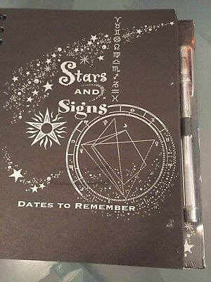 Stars and Signs 144 Page Date Birthdays Book Plus Silver Gel Pen - NEW