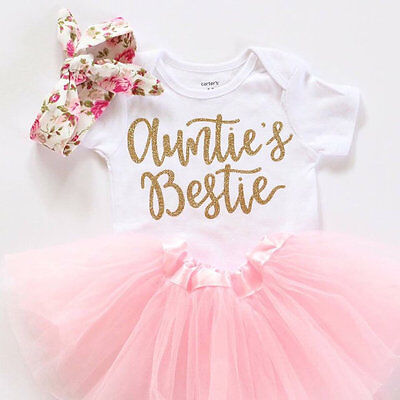 Newborn Baby Girl Clothes Romper Tops+Tutu Dress Outfits Sunsuit  0-18M Summer