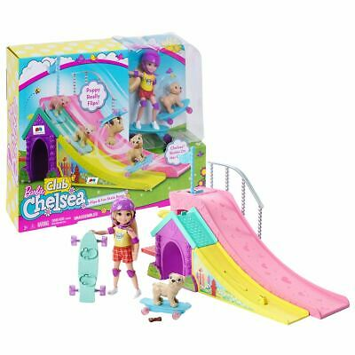 New Barbie Club Chelsea Flips & Fun Skate Ramp Doll & Puppy Playset Official