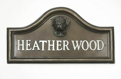 Bronze Finish Boxer Dog Arched House Name Sign