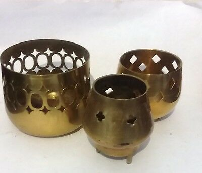 Vintage 3 brass small incense burners?