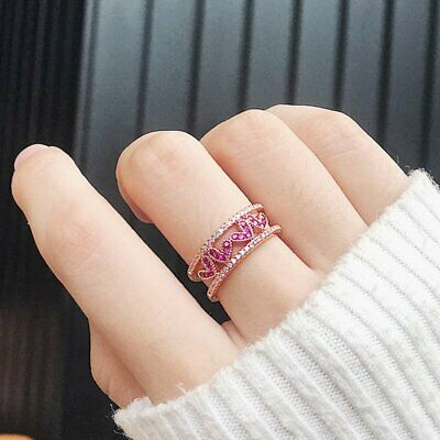 Fashion Korean Zircon Love Heart Double Layer Open Rings Women Micro Paved Ring