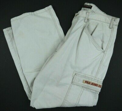 VINTAGE 90s POLO JEANS CO RALPH LAUREN chino CARGO pants milititary mens 36x32*
