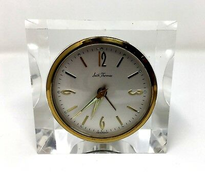 Vintage Mid-Century Mod Seth Thomas Lucite Alarm Clock Made in Germany - Working