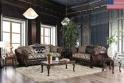 Living Room Furniture Brown 2pc Sofa Set Traditional Sofa Loveseat Leatherette