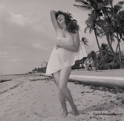 1955 Camera Negative Bunny Yeager Self Portrait Photograph Pin Up At The Beach