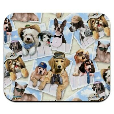 Cool Dogs on Framed on Fence Pattern Low Profile Thin Mouse Pad Mousepad