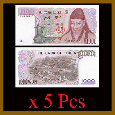 South Korea 1000 (1,000) Won x 5 Pcs, 1983 P-47 Unc