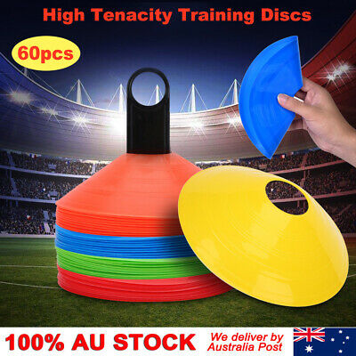 60 Pack Sports Training Discs Markers Cones Soccer Rugby Fitness Exercise 19cm