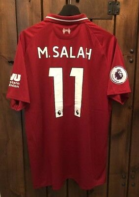 38f337958 Mo Salah Liverpool Home Jersey with EPL and Logo Patches Limited Size L