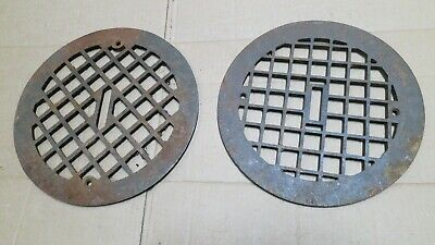 2 Round Cast Iron grate/vent COVERS craftsman wall/floor NON-matching