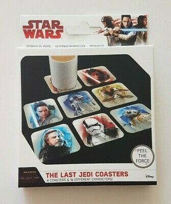 Star Wars The Last Jedi Coasters Set of 8 coasters & 16 different characters