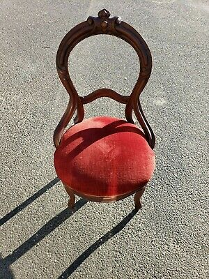 Antique Walnut Side Chair Red Crushed Velvet Seat!  Circa 1890's WE SHIP!