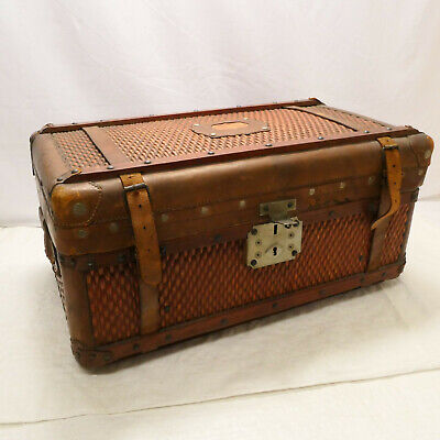 Vintage Wooden Whicker & Leather TRUNK SUITCASE Japanese Reinforced Corners #21