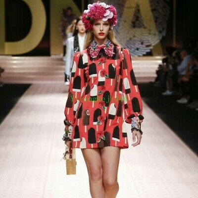 Occident runway doll neck Long sleeve Modern Vintage Printed womens Party dress