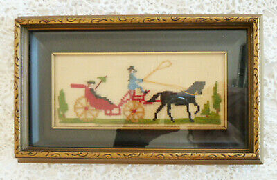 Antique Petit Point Shadow Box Frame Victorian Horse & Buggy Design Embroidered