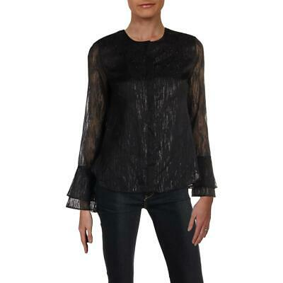 07dfbe5686ccb6 Calvin Klein Womens Black Metallic Sheer Night Out Blouse Top XS BHFO 4968