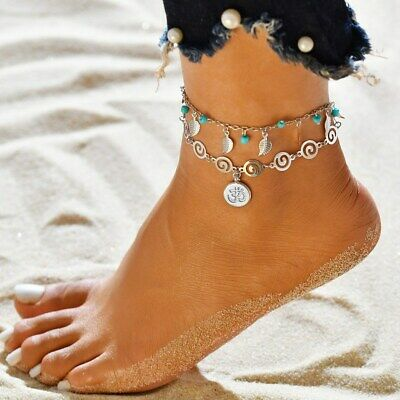 Women Stainless Steel Anklets Double Layer Symbol Charm Ankle Bracelet Beach