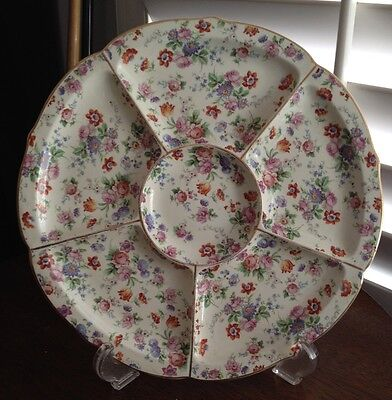 ERPHILA DORSET CHEERY CHINTZ Gold Trim Round 6 Part Divided Tray Relish 6588