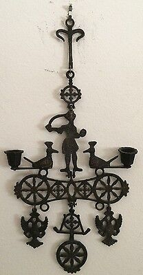Greek Orthodox Vintage Metal Hanging Candleholder Double Headed Eagle Unique!