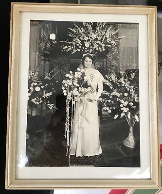 Beautiful 1930's Bride Antique Photograph Wedding Portrait Flower Sprays