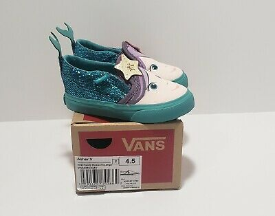 Vans Toddler Girls Mermaid Shoes Size 4.5 Asher V (Blossom Latigo Bay) NEW 533058f7b