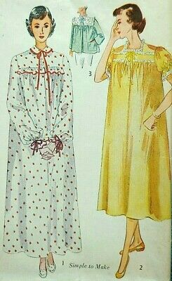fdaf5d1e7b Vintage 1950s sewing pattern Simplicity 3388 nightgown bed jacket 42 bust  uncut