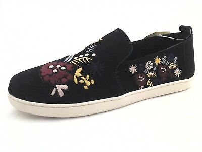 size 40 4d8f0 245c8 TOMS ALPARGATA FLATS Black Suede w Embroidered Floral Shoes ...