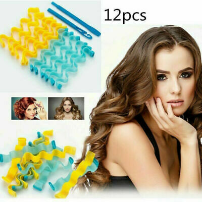 12pcs Water Wave Magic Curlers Formers Leverage Spiral Hairdressing Tool AU