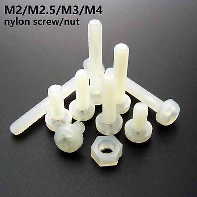 25/100x White Plastic Nylon M2 M2.5 M3 M4 Round Pan Phillips Head Screw Hex Nut