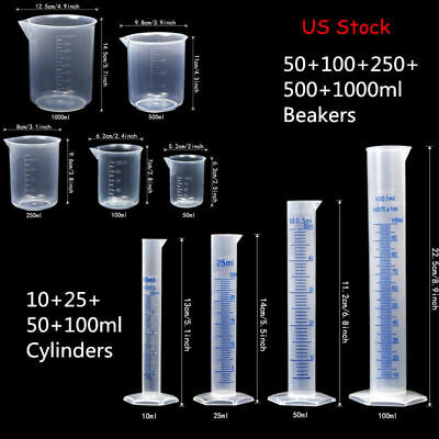 Lab Plasticware Set,4 Clear Plastic Graduated Cylinders with 5 Beakers +1 Brush