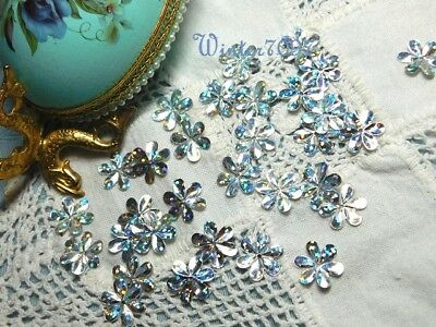 (161)*Costume Makers Sellout**Sequins*Silver Rainbow*Flower*New!*