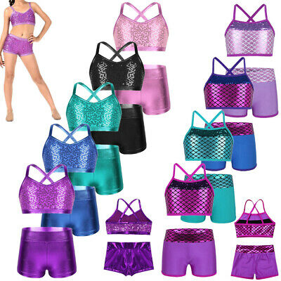 Kids Girls Ballet Jazz Dance Outfit Gymnastics Sport Shiny Crop Top+Booty Shorts