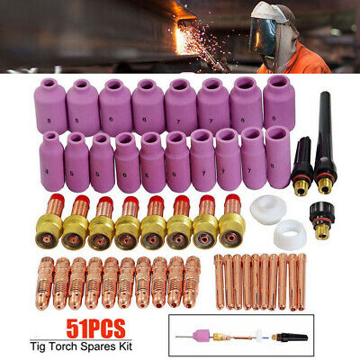 51x TIG Welding Ceramic Cup Gas Len Kit Tool For Cutter Torch 17/18/26 ESAB Sale