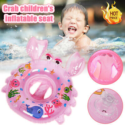 Baby Toddler Crab Inflatable Swimming Ring Seat Handle Safety Aid Trainer Water
