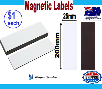 200mmX25mm White Magnetic Labels Strips Warehouse Factory Shelf Magnet Labeling