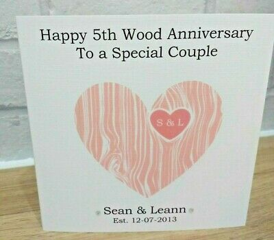 Handmade Personalised Wood 5th Wedding Anniversary Card 3 80 Picclick Uk