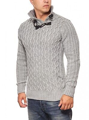 258b2db40ea7 Tazzio Fashion Emimay Pull en maille pour hommes Gris Stand-Up Collar  Fourrure a