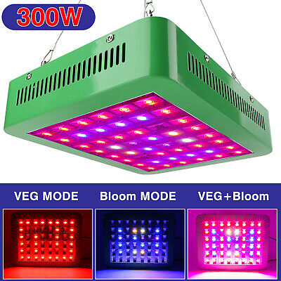 300W LED Grow Light Full Spectrum 3 Modes Adjustable Panel 310*250*60mm Indoor