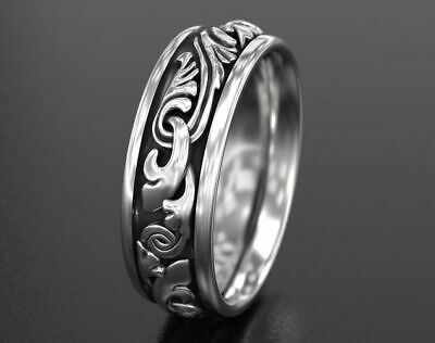 Antique Engagement Wedding Band Oxidized In 925 Sterling Silver Ring